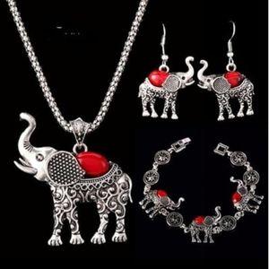 Jewelry - Elephant 3pc Necklace, Bracelet & Earrings - RED